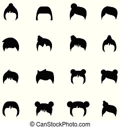 cabelo, estilos, jogo, ícone