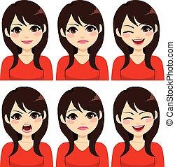 cabelo, expressões, mulher, morena, longo