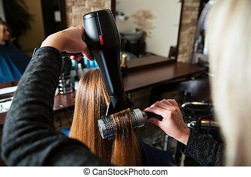 cabelo, fazer, penteado, dryer., usando