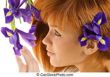 cabelo, flor, vermelho, violeta
