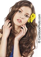 cabelo, fresco, menina, flor