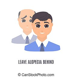 cabelo, homem, terapia, após, antes de, tratamento