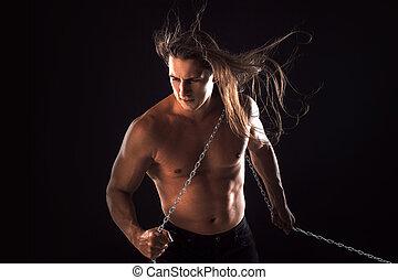 cabelo, jovem, longo, him., atrás de, algo, arrastar,...
