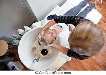 cabelo lavagem, em, salão