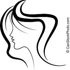 cabelo, logotipo, menina, salão, beleza