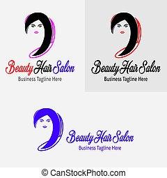 cabelo, logotipo, salão, beleza