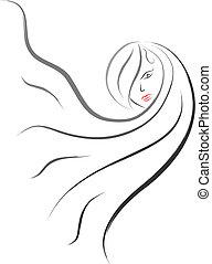 cabelo, logotipo, salão