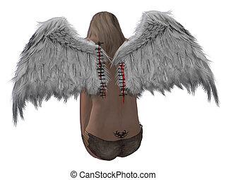 cabelo, loiro, asas, anjo, sitched