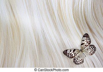 cabelo loiro, com, borboleta