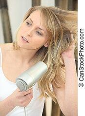 cabelo, loiro, mulher, secar, dela