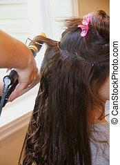 cabelo, longo, extensão