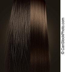 cabelo marrom, crespo, e, direito, comparação
