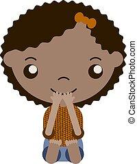 cabelo, marrom, menina, caricatura