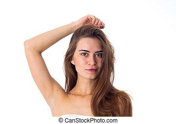 cabelo, marrom, mulher, jovem, longo