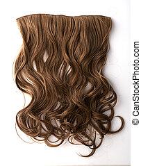 cabelo, marrom, pedaço