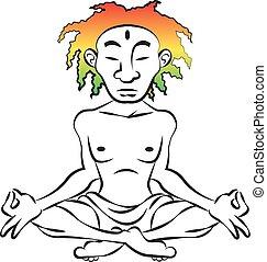 cabelo, meditar, coloridos, homem