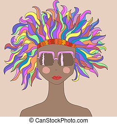 cabelo, menina, coloridos