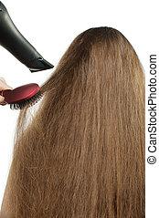 cabelo, menina, hairdress, pilha, longo