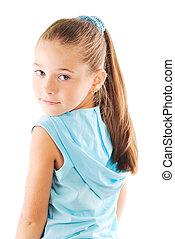 cabelo, menina, pequeno, loura, longo