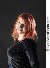 cabelo, menina, vermelho