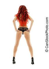 cabelo, menina, vermelho, pin-up