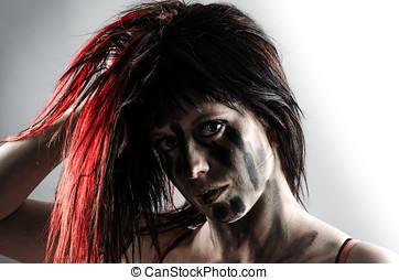cabelo, misteriosa, menina, pretas, vermelho