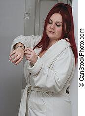 cabelo, modelo, banheiro, vermelho