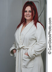 cabelo, modelo, bathrobe, vermelho