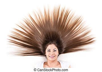 cabelo, morena, longo