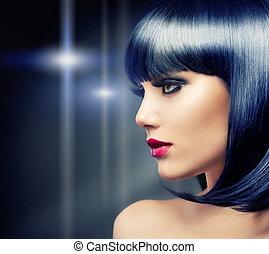 cabelo moreno, girl., pretas, saudável, bonito