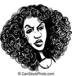 cabelo, mulher, cacheados