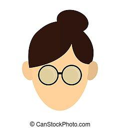 cabelo, mulher, cima, óculos, ícone