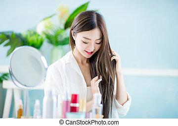 cabelo, mulher, conceito, cuidado beleza
