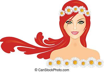cabelo, mulher, coroa, vermelho, margarida