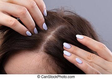 cabelo, mulher, diluir