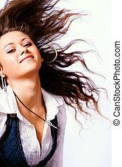 cabelo, mulher, em movimento, ativo