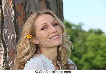 cabelo, mulher, flor, dela