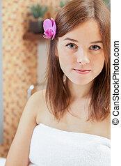 cabelo, mulher, flor, dela, tendo