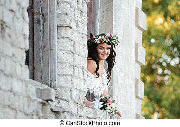cabelo, mulher, flores