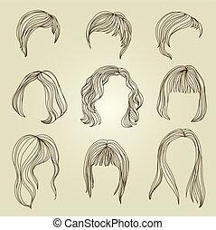 cabelo, mulher, jogo, penteado
