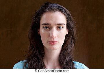 cabelo, mulher, jovem, longo, atraente