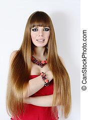 cabelo, mulher, jovem, longo