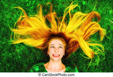 cabelo, mulher, longo, baixo, capim, feliz