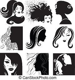 cabelo, mulher, longo