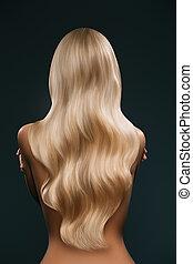 cabelo, mulher, longo, loura