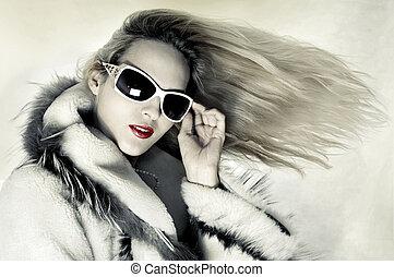 cabelo, mulher, moda, desenvolvendo