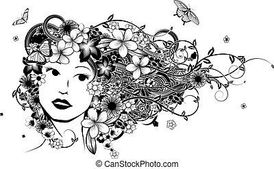 cabelo, mulher, moda, ilustração