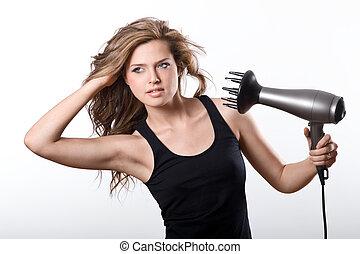 cabelo, mulher, morena, longo, sopro-secante