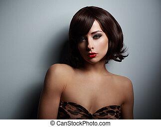cabelo, mulher olha, shortinho, experiência preta, escuro, sexual