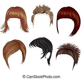 cabelo, mulher, penteado